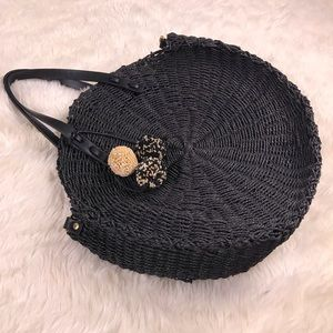 Zara woven round navy pom pom tote bag purse